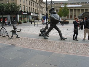 Sculpture outside Caird Hall, Dundee. You find statues like this all around the city!