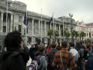350 Climate Change Protest, Parliament, Wellington, North Island, New Zealand