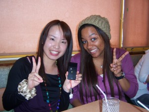 Eating lunch with my Japanese friend, Mina