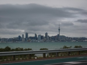 Auckland Skyline from the Harbour Bridge, North Island, New Zealand