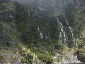 Waterfalls, Milford Sound, Fjordland, South Island New Zealand