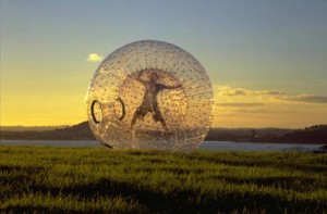Zorbing, Rotorua, North Island, New Zealand
