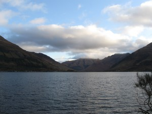 The Five Sisters mountain range as seen from Loch Duich