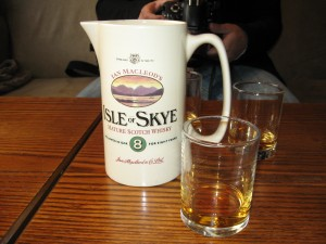 The Isle of Skye is well known for its whisky; due to the clean natural spring waters. Talisker Whisky is probably the best known and is locally brewed; albeit expensive.