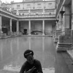 me sitting in front of the great bath