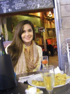 Lauren, with the remnants of our chips and guacamole