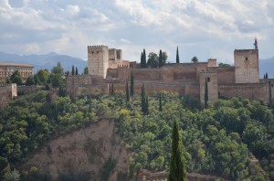 A beautiful mountain-top view of the Alhambra Palace.