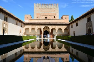 A world-famous, guidebook-worthy photo of a reflective pool inside the Alhambra Palace.