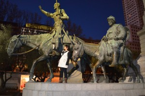 Posing with a statue of the famous Spanish character of the same title, Don Quijote de la Mancha, and Sancho Panza.