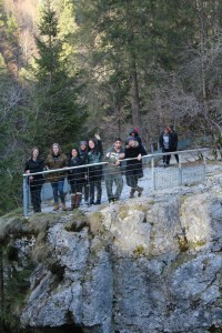 We're standing on the Switzerland side of the waterfall while the picture was taken from the France side