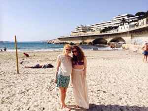 Me with Julia at the beach in Marseille