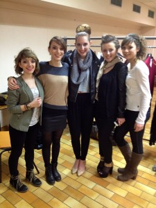 I was able to participate in a student fashion show with my French friends from the fashion class. This photo was taken backstage before the show.