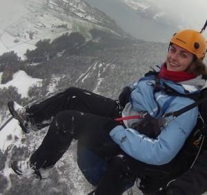Marianne paragliding over Interlaken, Switzerland