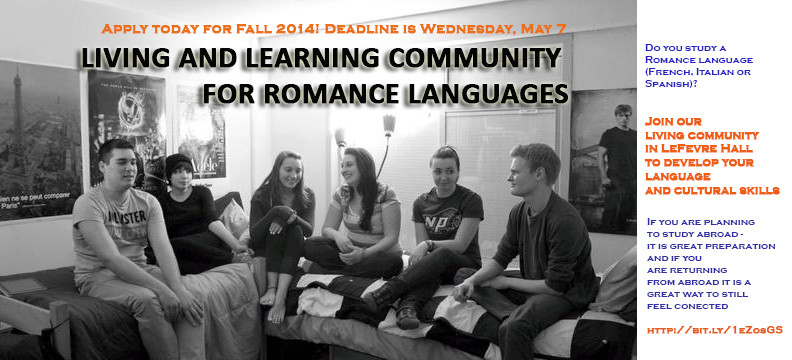 Romance Language Community - Deadline extended to Wednesday, May 7, 2014