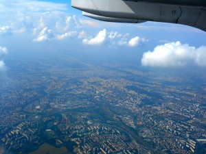 View of Prague from the plane