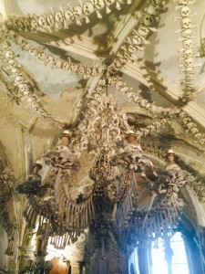 the chandelier in the bone church