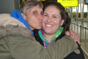 Kisses from my mom at the airport