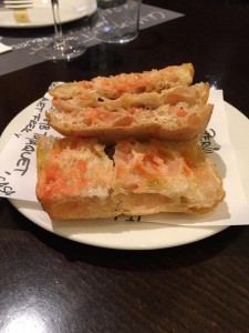 Traditional Catalan tomato bread tappa