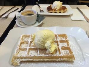 Belgian waffle with vanilla ice cream