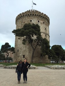 Dyeemah and I infront of the White Tower in Thessaloniki