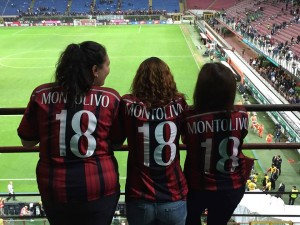 AC Milan game with fellow SUNY students Gaby, and Yvonne
