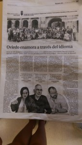 We made the local newspaper on our first excursion: touring the historic part of Oviedo