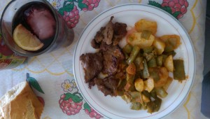 beef with potatoes and greens