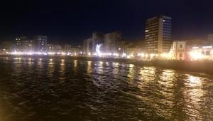San Lorenzo beach at night in Gijon, Asturias