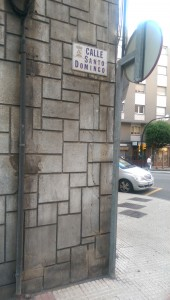 Dreaming in Spain, street signs are on the sides of buildings