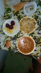 Dreaming in Spain, soup with chicken, French fries with beef, eggs and cheese, plums and melon