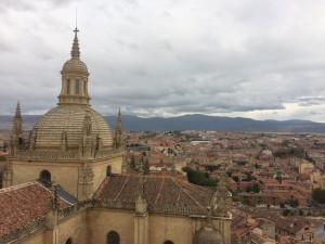 The view after climbing the tower of the Segovia Cathedral, which used to house the tallest tower in Spain. After it got burned down by a lightning strike, it was built up again allowing people to climb to the top.