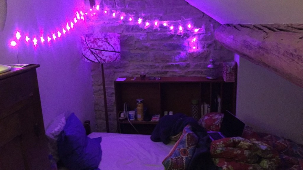 My bed - where I've added lights to make myself feel more at home.