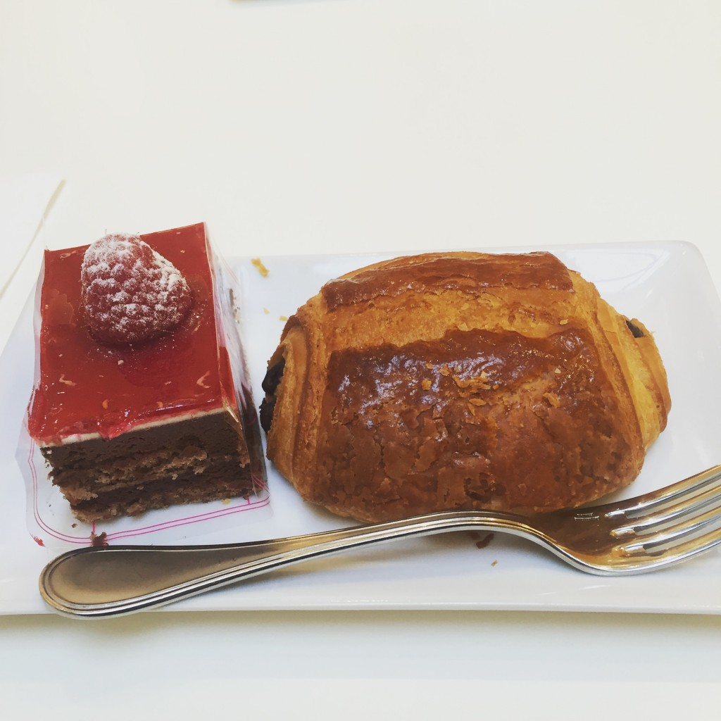 Pastries from a patisserie at the end of my block - (left) un mogador, (right) un pain au chocolat.