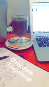 Doing homework and drink hot chocolate in a Café