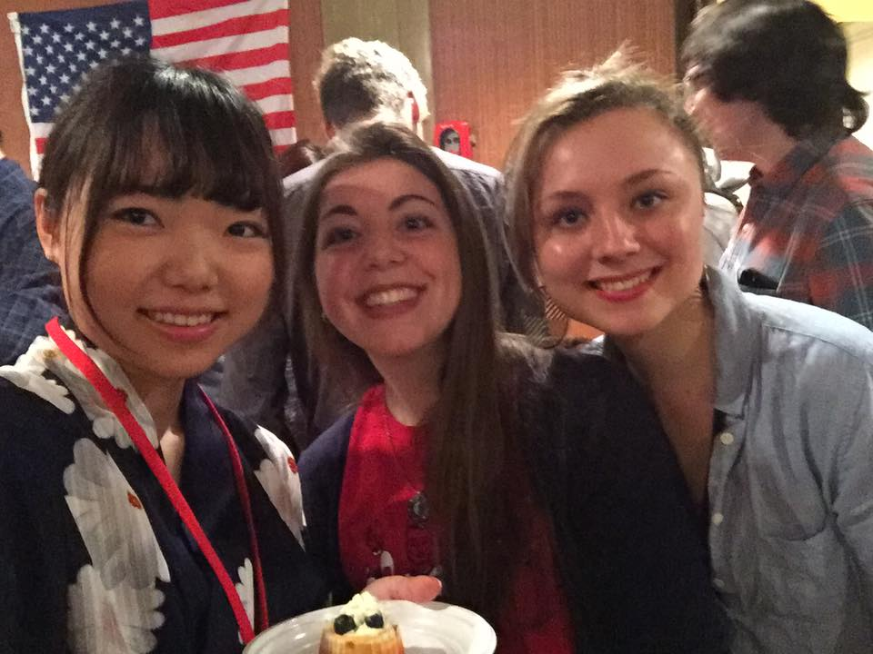 (left to right) Mayuko (who bought our cheesecake!), me, Kate.