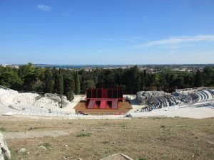 A view from the top of the theater hill - the stage is set for a performance of Euripides' Alcestis in a few hours