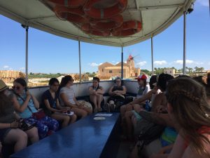 Taking the ferry to Mozia (note the windmill that serves the salt works)